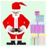 De Kerstman met giftdoos Stock Afbeelding