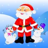 De Kerstman met Kerstmis snowman.card Stock Foto