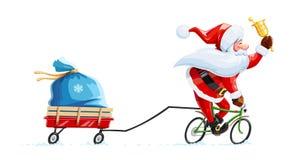 De Kerstman met klok bij fiets Het karakter van het Kerstmisbeeldverhaal stock illustratie