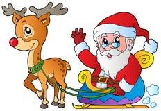 De Kerstman met slee en herten Royalty-vrije Stock Afbeelding