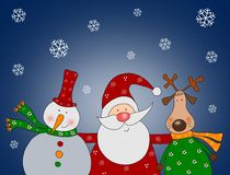 De Kerstman met sneeuwman en rendier Stock Fotografie