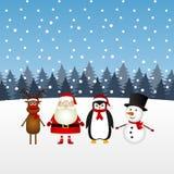 De Kerstman met sneeuwman, rendier en pinguïn in de winter voor royalty-vrije illustratie