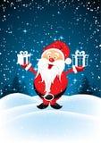 De Kerstman met stelt voor Royalty-vrije Stock Afbeeldingen