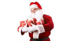 De kerstman met stelt voor Stock Foto's