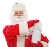 De Kerstman met toiletpapier in hun handen Royalty-vrije Stock Afbeelding