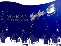 De Kerstman met witte Kerstmis in de stad Royalty-vrije Stock Fotografie