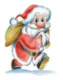 De Kerstman met zak Stock Foto's