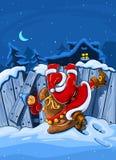 De Kerstman met zak beklimt over grote omheining Royalty-vrije Stock Afbeelding