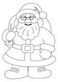 De Kerstman met zak van giften, contouren Stock Foto's