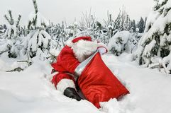 De Kerstman met zijn zak royalty-vrije stock afbeeldingen