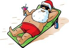 De kerstman neemt een vakantie Stock Foto