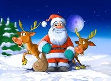 De Kerstman omringde door zijn deers Royalty-vrije Stock Afbeelding