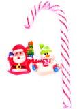 De kerstman ontmoet sneeuwman voor de zaken Stock Afbeeldingen
