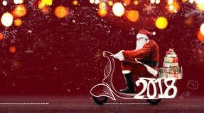 De Kerstman op autoped Stock Afbeeldingen