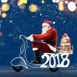 De Kerstman op autoped Stock Foto