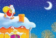 De Kerstman op de huis-bovenkant Royalty-vrije Stock Afbeeldingen