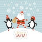 De Kerstman op een slee Stock Afbeeldingen
