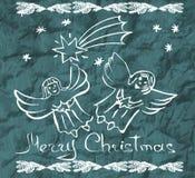 De Kerstman op een slee De achtergrond van de vakantie Leuke engelen Hand D stock illustratie