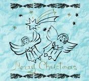 De Kerstman op een slee De achtergrond van de vakantie Leuke engelen Hand D royalty-vrije illustratie