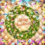 De Kerstman op een slee Eps 10 Stock Foto's
