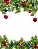 De Kerstman op een slee Groene spartakken met rode en blauwe ballen op witte achtergrond De decoratie van Kerstmis Royalty-vrije Stock Afbeeldingen