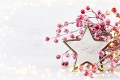 De Kerstman op een slee De kerstboomtak schittert gouden royalty-vrije stock afbeelding