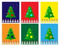 De Kerstman op een slee Vrolijke Kerstmis en bomen, Stock Afbeeldingen