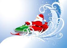 De Kerstman op een sneeuwscooter. Editable vector. royalty-vrije illustratie