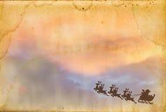 De Kerstman op oude document textuur Stock Foto's