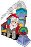De Kerstman op trein Stock Afbeeldingen