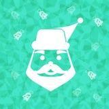De Kerstman op verblinde driehoeksachtergrond Royalty-vrije Stock Afbeeldingen
