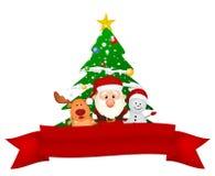 De Kerstman, rendier en sneeuwman met rood lint Stock Foto's