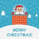 De Kerstman in de schoorsteen Malplaatje voor vakantiebanner Vector illustratie Royalty-vrije Stock Foto