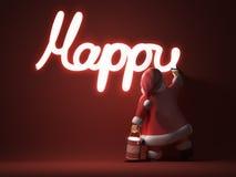 De kerstman schrijft Gelukkig Nieuwjaar Stock Afbeeldingen