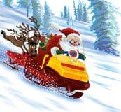 De Kerstman schrijlings op een sneeuwscooter Royalty-vrije Stock Afbeeldingen