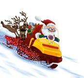 De Kerstman schrijlings op een sneeuwscooter Stock Fotografie