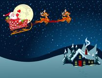 De Kerstman in Slee Royalty-vrije Stock Afbeelding