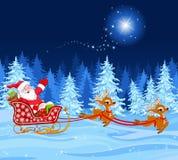 De Kerstman in Slee Stock Foto