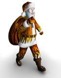 De kerstman in tijgerbont houdt de zak royalty-vrije illustratie