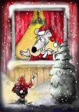 De Kerstman van de muis in Venster Royalty-vrije Stock Foto