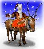 De Kerstman van het beeldverhaal dichtbij aan een rendier royalty-vrije illustratie