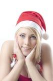De Kerstman van het meisje stock afbeeldingen