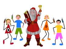 De Kerstman van Kerstmis met kinderen Royalty-vrije Stock Afbeelding