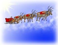 De kerstman verbetert slee zes rendieren royalty-vrije illustratie