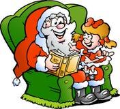 De Kerstman vertelt een verhaal aan een meisje Stock Afbeelding