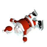 De kerstman viel het Schaatsen van het Ijs Stock Foto
