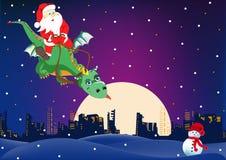 De Kerstman vliegt op een draak Royalty-vrije Stock Afbeeldingen