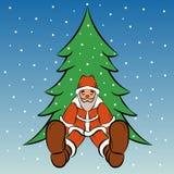 De kerstman zit onder de boom vectorillustratie Royalty-vrije Stock Afbeelding