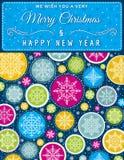 De Kerstmisachtergrond met hand trekt sneeuwvlokken, vector Stock Afbeeldingen