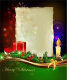 De Kerstmisachtergrond met stelt dozen en kaars voor vector illustratie